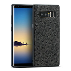 Custodia Silicone Morbida In Pelle R02 per Samsung Galaxy Note 8 Nero