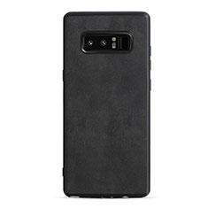 Custodia Silicone Morbida In Pelle R05 per Samsung Galaxy Note 8 Duos N950F Nero