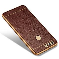 Custodia Silicone Morbida In Pelle W01 per Huawei Honor 8 Marrone