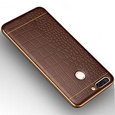 Custodia Silicone Morbida In Pelle W01 per Huawei Honor V9 Marrone