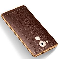 Custodia Silicone Morbida In Pelle W01 per Huawei Mate 8 Marrone