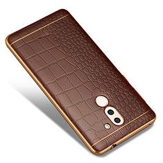 Custodia Silicone Morbida In Pelle W01 per Huawei Mate 9 Lite Marrone