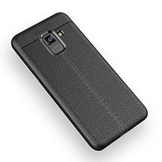 Custodia Silicone Morbida In Pelle W01 per Samsung Galaxy A5 (2018) A530F Nero
