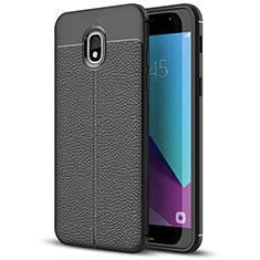 Custodia Silicone Morbida In Pelle W01 per Samsung Galaxy J7 (2018) J737 Nero