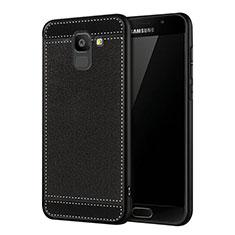 Custodia Silicone Morbida In Pelle W01 per Samsung Galaxy On6 (2018) J600F J600G Nero