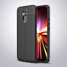 Custodia Silicone Morbida In Pelle W03 per Huawei Mate 20 Lite Nero