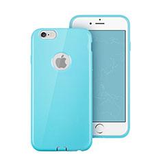 Custodia Silicone Morbida Lucido con Foro per Apple iPhone 6 Cielo Blu