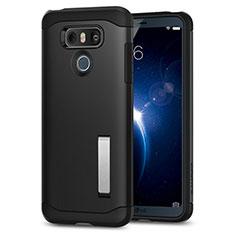 Custodia Silicone Morbida Lucido con Supporto per LG G6 Nero