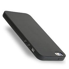 Custodia Silicone Morbida Lucido per Apple iPhone 5 Nero