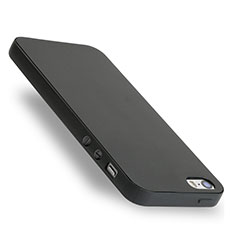 Custodia Silicone Morbida Lucido per Apple iPhone 5S Nero