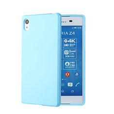 Custodia Silicone Morbida Lucido per Sony Xperia Z3+ Plus Blu