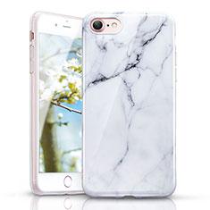 Custodia Silicone Morbida Pattern di Marmo per Apple iPhone 7 Bianco
