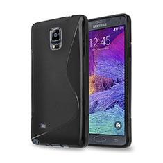 Custodia Silicone Morbida S-Line per Samsung Galaxy Note 4 Duos N9100 Dual SIM Nero