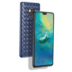 Custodia Silicone Morbida Spigato B02 per Huawei Mate 20 Pro Blu