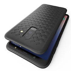 Custodia Silicone Morbida Spigato B02 per Samsung Galaxy A6 Plus Nero