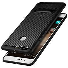 Custodia Silicone Morbida Spigato con Supporto per Huawei Honor 8 Pro Nero