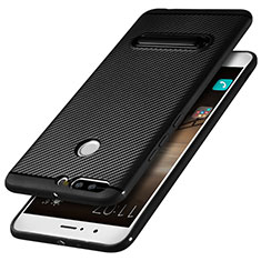 Custodia Silicone Morbida Spigato con Supporto per Huawei Honor V9 Nero