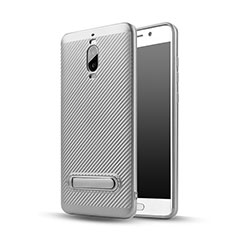Custodia Silicone Morbida Spigato con Supporto per Huawei Mate 9 Pro Argento