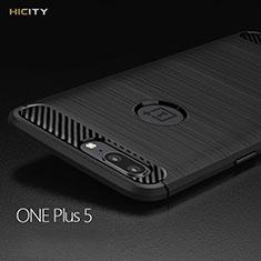 Custodia Silicone Morbida Spigato per OnePlus 5 Nero