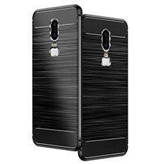 Custodia Silicone Morbida Spigato per OnePlus 6 Nero