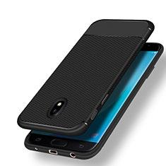Custodia Silicone Morbida Spigato per Samsung Galaxy J7 (2017) Duos J730F Nero