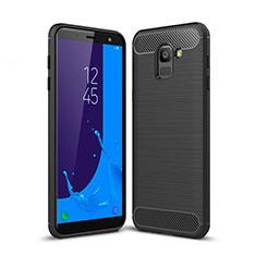 Custodia Silicone Morbida Spigato per Samsung Galaxy On6 (2018) J600F J600G Nero