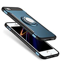 Custodia Silicone Opaca con Anello Supporto per Apple iPhone 5S Blu