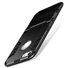 Custodia Silicone Opaca con Supporto per Apple iPhone SE Nero