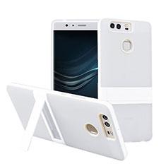 Custodia Silicone Opaca con Supporto per Huawei P9 Bianco