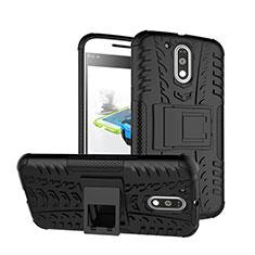 Custodia Silicone Opaca con Supporto per Motorola Moto G4 Plus Nero