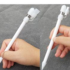 Custodia Silicone Protettivo Cappuccio Pennino Cover Cavo Holder Anti-perso P02 per Apple Pencil Bianco
