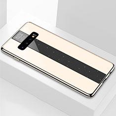 Custodia Silicone Specchio Laterale Cover A01 per Samsung Galaxy S10 Plus Oro