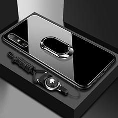 Custodia Silicone Specchio Laterale Cover con Anello Supporto per Huawei Enjoy 10e Nero