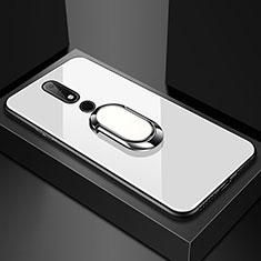 Custodia Silicone Specchio Laterale Cover con Anello Supporto per Nokia 6.1 Plus Bianco