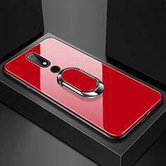 Custodia Silicone Specchio Laterale Cover con Anello Supporto per Nokia 6.1 Plus Rosso