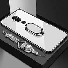 Custodia Silicone Specchio Laterale Cover con Anello Supporto per Nokia 7.1 Plus Bianco