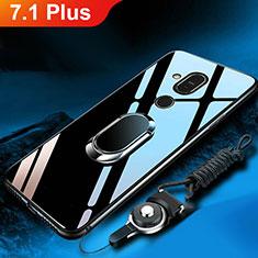 Custodia Silicone Specchio Laterale Cover con Anello Supporto per Nokia 7.1 Plus Nero