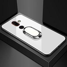 Custodia Silicone Specchio Laterale Cover con Anello Supporto per Nokia 7 Plus Bianco