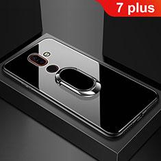 Custodia Silicone Specchio Laterale Cover con Anello Supporto per Nokia 7 Plus Nero