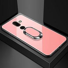 Custodia Silicone Specchio Laterale Cover con Anello Supporto per Nokia 7 Plus Oro Rosa