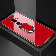 Custodia Silicone Specchio Laterale Cover con Anello Supporto per Nokia 7 Plus Rosso