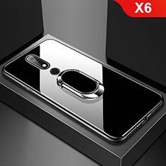 Custodia Silicone Specchio Laterale Cover con Anello Supporto per Nokia X6 Nero