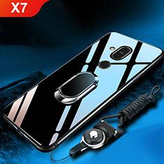 Custodia Silicone Specchio Laterale Cover con Anello Supporto per Nokia X7 Nero