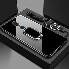 Custodia Silicone Specchio Laterale Cover con Anello Supporto per Oppo A9 Nero