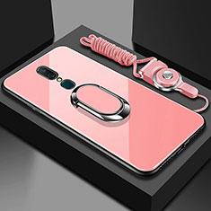 Custodia Silicone Specchio Laterale Cover con Anello Supporto per Oppo A9X Oro Rosa