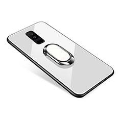 Custodia Silicone Specchio Laterale Cover con Anello Supporto per Samsung Galaxy A6 Plus (2018) Bianco