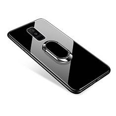 Custodia Silicone Specchio Laterale Cover con Anello Supporto per Samsung Galaxy A6 Plus Nero