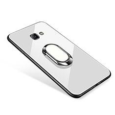 Custodia Silicone Specchio Laterale Cover con Anello Supporto per Samsung Galaxy J7 Prime Bianco