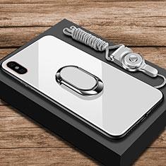 Custodia Silicone Specchio Laterale Cover con Anello Supporto per Xiaomi Mi 8 Explorer Bianco