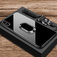 Custodia Silicone Specchio Laterale Cover con Anello Supporto per Xiaomi Mi 8 Explorer Nero